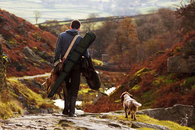 A man loaded with hunting gear, accompanied by his dog, walks along a gully