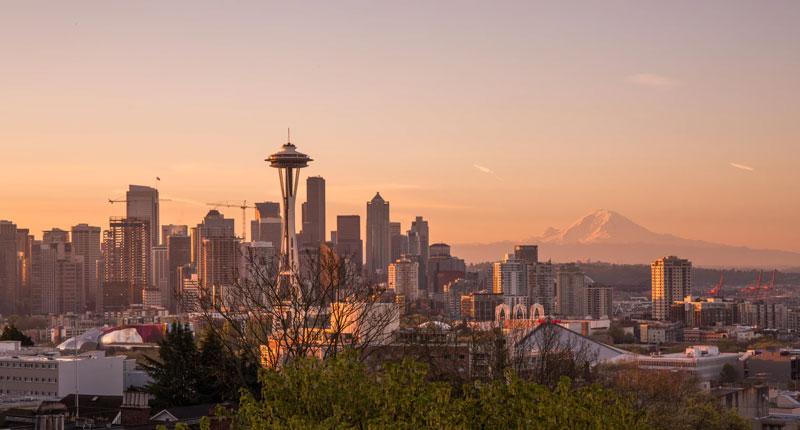 The Seattle skyline at sunset.